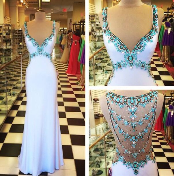 dress white dress white homecoming dress beads prom dress prom