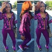 top,amourjayda,tracksuit,sneakers,sportswear,purple,workout,workout leggings,louis vuitton bag,nike,jumpsuit