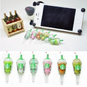 Amazon.com: 6 pcs (whole set) StarBucks Frappuccino, Milk Cell Phone Charm 3.5mm Anti Dust Earphone Jack Plug iphone 4 4S: Cell Phones & Accessories