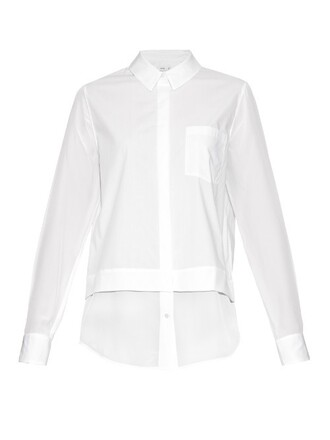 shirt long silk white top