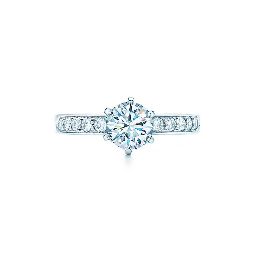 Round Brilliant With Bead-set Band Engagement Rings | Tiffany & Co.