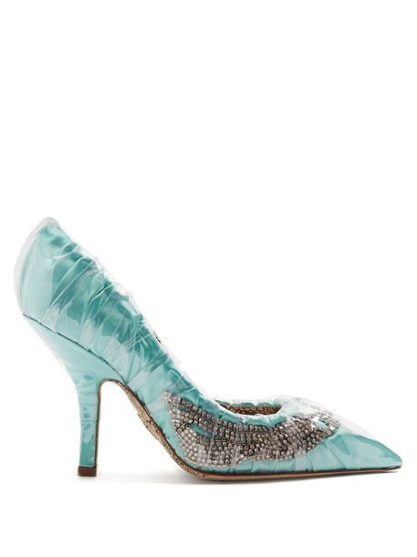 PACIOTTI BY MIDNIGHT embellished pumps satin light green shoes