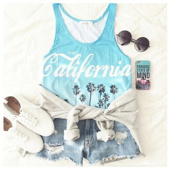 california ombré palm tree print blue shoes sunglasses jeans top