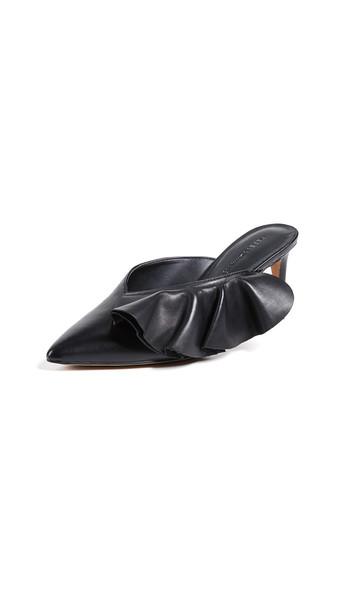 Rebecca Minkoff Giov Point Toe Ruffle Mules in black
