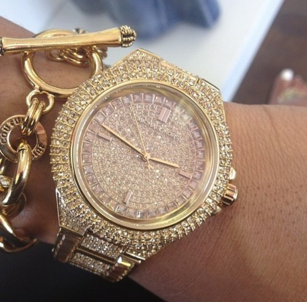 jewels michael kors watch glitter gold micheal kors watch gold