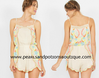 romper ivory short colorful summer spring elegant chic designer affordable women's juniors boutique lace blue yellow pin k red pink miley cyrus spaghetti strap selena gomez kardashians