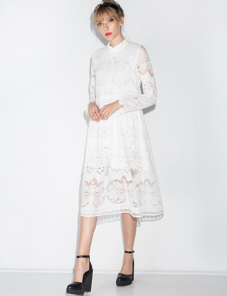 Dress High Neck Lace Midi Prairie Dress Korean Fashion Korean