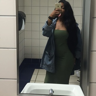 dress olive green green tube bra strapless midi dress instagram tumblr summer summer dress summer outfits