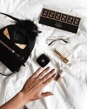 make-up,tumblr,nail polish,nail art,nails,nail stickers,metallic nails,chanel,foundation,fendi,backpack,black backpack,mini backpack,glasses