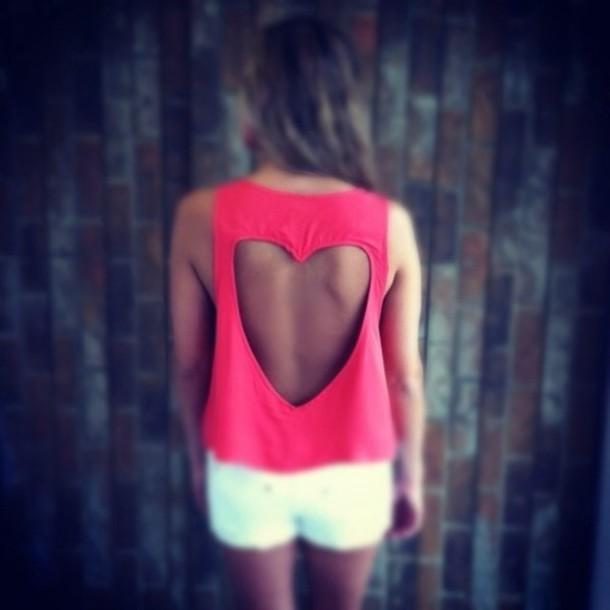 shirt heart cut-out pink
