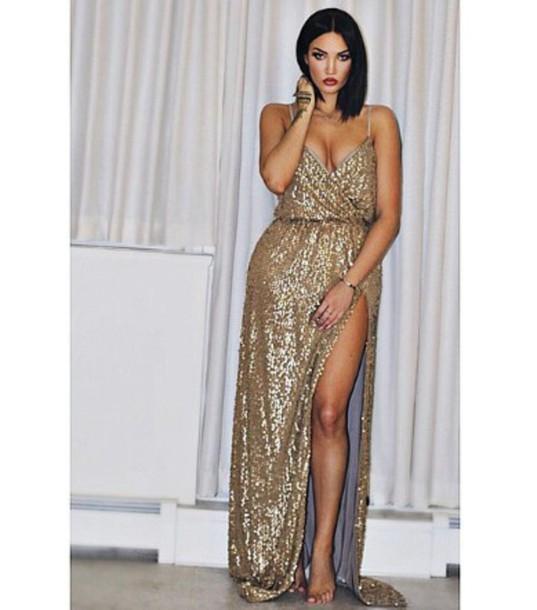 dress gold gliter dresses sexy dress