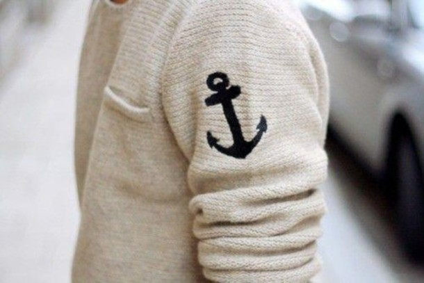 sweater anchor jumper cute pocket sleeve white tumblr top