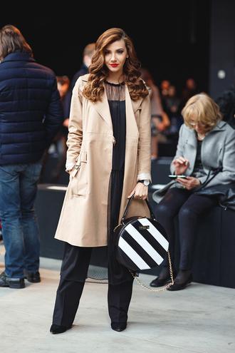 the mysterious girl blogger jewels sunglasses make-up beige coat black jumpsuit black lace black heels black bag