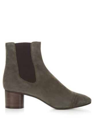 heel suede ankle boots boots ankle boots suede grey shoes