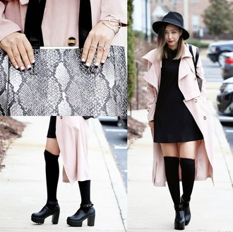 different cands blogger trench coat baby pink little black dress pink coat snake print