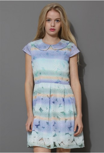 Dip Dyed Floral Peter Pan Collar Dress - Retro, Indie and Unique Fashion