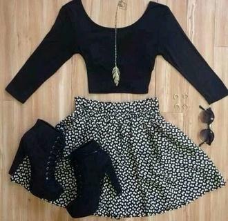 skirt black white pattern patterned flowy skirt flowy black and white