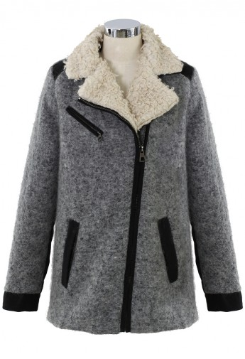 Shearing Wool Tweed Coat in Grey - Retro, Indie and Unique Fashion