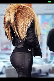 jacket,pants,black,leather jacket,fur,coat,sweater,cute,leather,fluffy,fashion,vogue,beautiful,girl,outfit,where can i get it?,lether,letherjacket,fell,fall outfits,winter outfits,faux fur,faux fur jacket,jeans,leater pants,animal,leather pants,shoes,high heels,High waisted shorts,cardigan,jewels,make-up,top