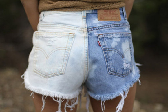 shorts jeans blue white cool girl style summer outfits summer shorts bleech denim denim shorts bleeched