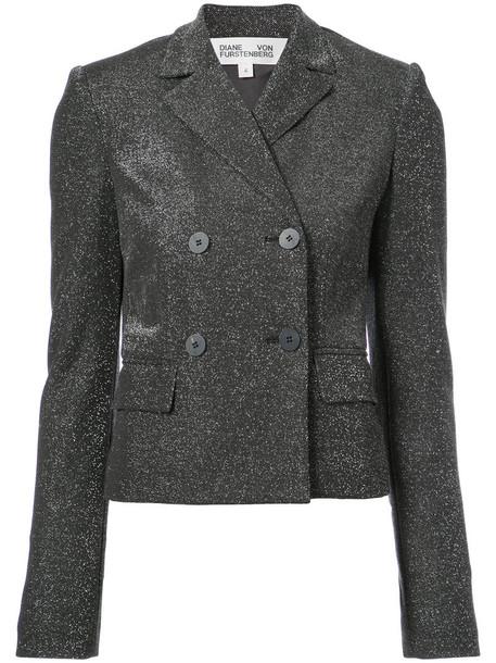 Dvf Diane Von Furstenberg jacket cropped jacket double breasted cropped women cotton black