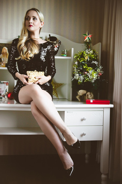 my blonde gal blogger little black dress pointed toe clutch sequin dress new year's eve holiday season dress bag jewels shoes