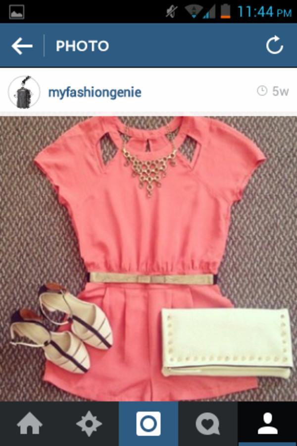 romper pink romper gold belt handbag