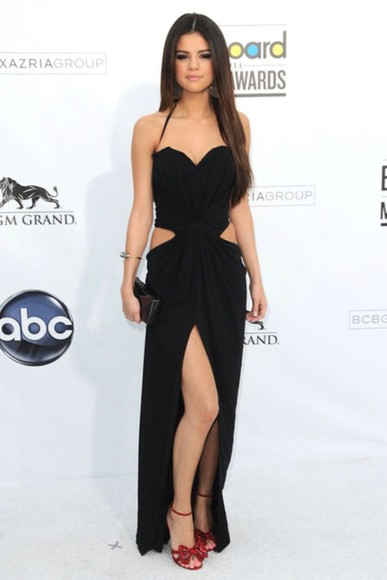 selena gomez red carpet billboard awards little black dress long dress