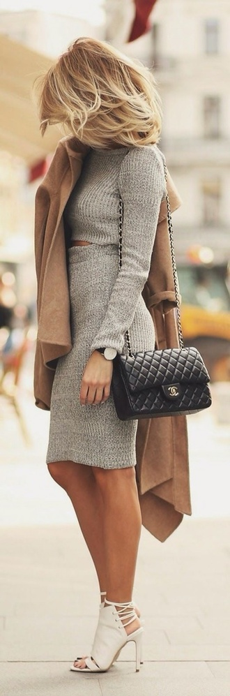 long sleeves long sleeve dress chanel white heels lace up set two piece dress set ribbed top grey top long sleeve crop top pencil skirt grey skirt camel coat chanel bag black bag
