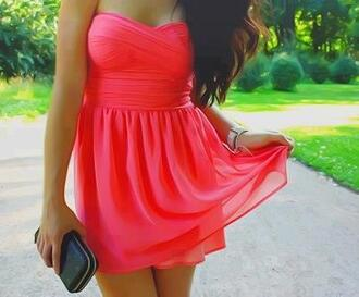 dress coral dress pink dress bright neon coral pink kleid red dress red neon pink neon pink dress neon dress prom dress prom short dress short pink prom dress short pink dress dress color summer pink mini dress summer dress dark pink strapless dress flowy dress
