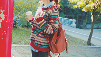 sweater fashion girl hipster beautiful colorful cute hair image love photography teenagers asian pattern clothes winter sweater fall outfits