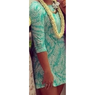 dress hawaiian print white dress teal dress