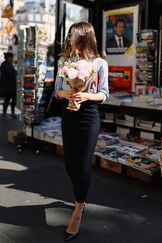 skirt tumblr black skirt midi skirt pointed toe pumps pumps black pumps shirt stripes striped shirt flowers