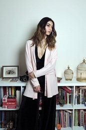 jacket,tumblr,blazer,pink blazer,jumper,black jumpsuit,wide-leg pants,velvet,velvet jumpsuit,v neck,plunge v neck,date outfit