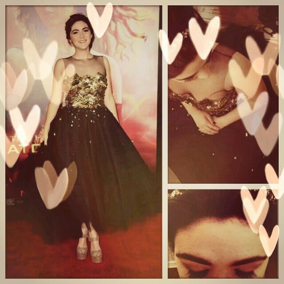 dress beautiful tulle black cute sequin dress isabelle fuhrman catching fire clove sequins gold mesh glitter dress movie premiere the hunger games heart plateau high heels lovely