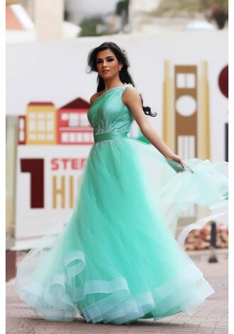 dress tulle prom dresses prom dress elegant mint one shoulder evening dress party dressesf formal dress sexy beautiful girl prom evening outfits party