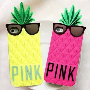 Victoria/'s Pineapple 3D Silicone Case Secret for iPhone PINK silicon cover case for iPhone 5 5g 5S, free shipping-in Phone Bags & Cases from Electronics on Aliexpress.com