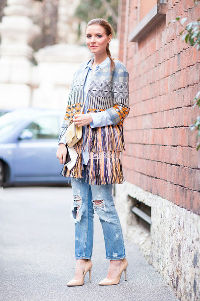 the fashion fruit blogger coat ripped jeans nude high heels fringes texture gingham pattern jeans shoes bag