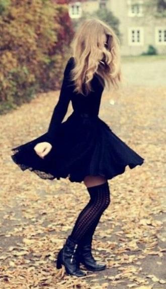 dress black dress long sleeve dress
