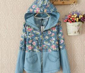 Long sleeve floral print blue hooded denim jacket coat [grzxy6601384] on luulla