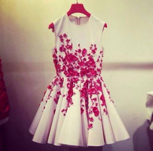 351404933ff2 dress white dress white floral dress floral floral red rose dress white  floral short dress skater