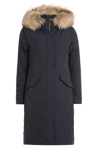 parka long fur luxury blue coat