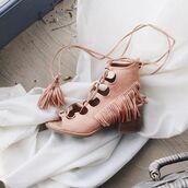 shoes,booties,peep toe,lace-up shoes,melon,short heels,fringes,qupid