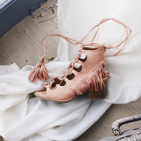 shoes booties peep toe lace-up shoes melon short heels fringes qupid