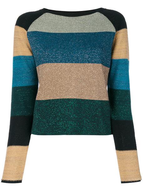 Twin-Set - striped knitted top - women - Polyamide/Polyester/Viscose/metal - XL, Polyamide/Polyester/Viscose/metal