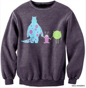 sweater,monsters inc,monsters inc.,crewneck,disney sweater,grey,sully,mike,boo,grey sweater,gray hoodie,cute top,cute sweaters,style,tshirt.,boyfriend sweater,lovely,outfit,tumblr outfit,tumblr sweater,cartoon