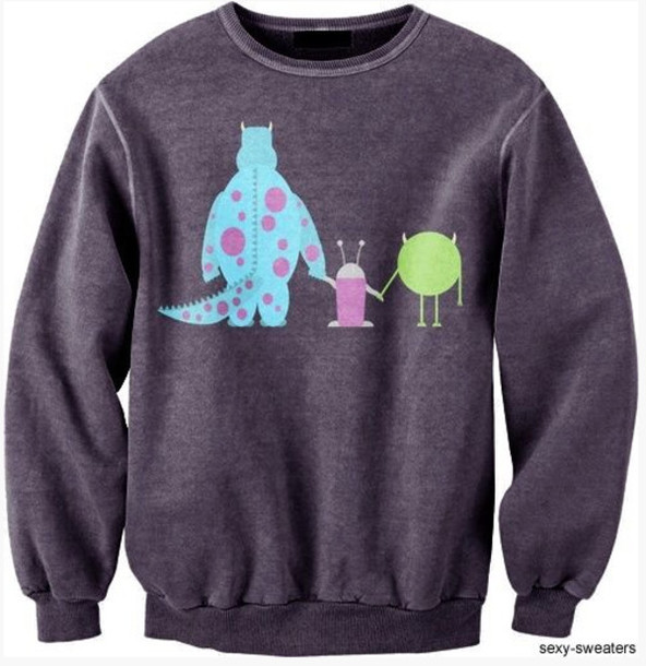 Sweater Monsters Inc Monsters Inc Crewneck Disney Sweater Grey Sully Mike Boo Grey Sweater Gray Hoodie Cute Top Cute Sweaters Style Tshirt Boyfriend Sweater Lovely Outfit Tumblr Outfit Tumblr Sweater Cartoon