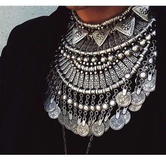 jewels silver coin drop neckace coin necklace statement necklace necklace bib necklaces choker necklace jewelry