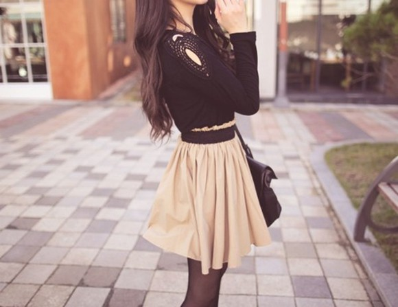 black sweater blouse tan skirt, short