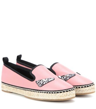 espadrilles leather pink shoes